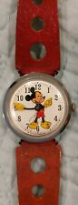 Vintage Rare 1970s Timex Mickey Mouse Watch w Original Red Strap *Works*