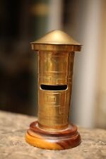 RARE Vintage Post Office Child's Penny Coin Bank Solid Brass Wood Base Antique