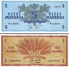 FINLAND 2 PCS SET 1 MARKKA 5 MARKKAA 1963  UNC P 98 - 106a