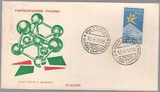 ITALIA BUSTA FDC ANNULLO PRIMO GIORNO 1958 FIERA CAMPIONARIA ROMA FDC BRUXELLES