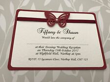 25 Wedding Invitations - Burgundy Butterfly & Pearl Centre and Matching Ribbon