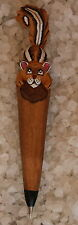 Chipmunk Caricature Pen Hand Carved Wood Writing Instrument Hand Painted Detail