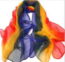 GC Style Lady Femme Écharpe Douce Châle Cou Foulard (Rouge Jaune Bleu)