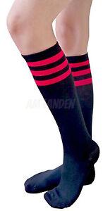 AM Landen Black/Red Stripe Knee High Socks Stripe Socks Knee Socks Girls Socks