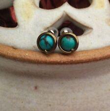 Handmade Turquoise Brass Costume Earrings