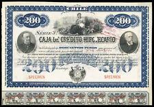 Chilean 19xx Caja Credito Hipotecario 200 $ Pesos SPECIMEN Coups Bond Share Loan