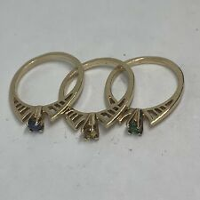14k yellow gold set of 3 stacked rings blue sapphire green garnet citrine pinky