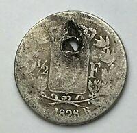 Dated : 1828 B - Silver Coin - France - Half Franc - 1/2 Franc Coin - Charles X