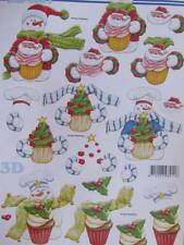 A4 3D Christmas Paper Tole Santa Snowman with Cupcakes 3 pictures NEW