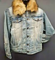 Men's Kloud9 Jean Jacket with Detachable Fur Collar - Indigo Blue