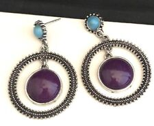 Designer Statement Earrings Semi Precious Purple Stone Premier Urban Chic 12N
