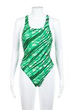 SPEEDO One Piece Size 6 Green Marble Drop back Palm Print Swimsuit Swim