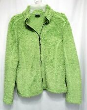 fbbca8d05a4 Natural Reflections Fleece Jacket Size L Green Open Front Zipper Long Sleeve