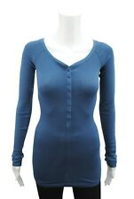 Womens P.C T-Shirt Top Button Up Long Sleeve Ribbed LYCRA Indigo Size 6 - 18