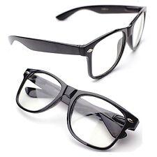 Horn Rimmed Clear Lens Black Frames Glasses  Fashion Nerd Geek Mens Womens