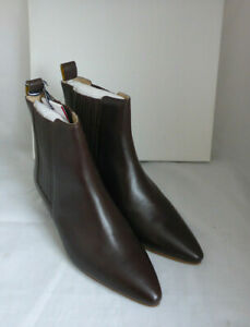 Joules 213700 Walcott Dark Chocolate Brown Leather Slip On Ankle Boots Box Sz 5