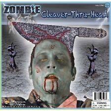 Zombie Cleaver Thru Head Knife Butcher Costume Trick Prop Joke Through Bloody