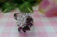Beautiful Real Platinum Sterling Silver Ring Sparkles Leave Violet CZs Size 7 C8
