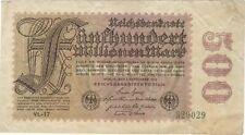 1923 500 MILLION MARK GERMANY CURRENCY REICHSBANKNOTE GERMAN BANKNOTE BILL NOTE