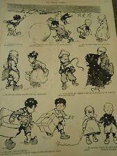 La neige tombe enfants Dessin Poulbot humour Print 1902