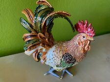 Enamel  rooster jewelry box with Swarovsky crystals handmade