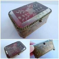 Antique Vitrine Box Trinket Casket Victorian Miniature Brass Etched Glass c1890