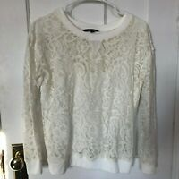 Catherine Malandrino Top Size S White Lace Long Sleeve Lined Small