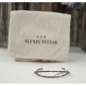 Alexis Bittar Gunmetal Plated Crystal Orbiting Open Cuff Bangle Bracelet NWOT
