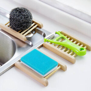 New Natural Wooden Bamboo Soap Dish Tray Holder Storage Soap Rack Plate Box