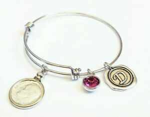 10th Anniversary Gift 2011 US Dime Birthstone Initial Bracelet