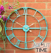 Metal Garden Outdoor Wall Clock Turquoise Finish Roman Numerals Durable