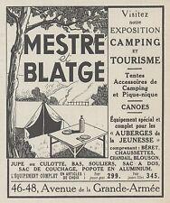 Z9974 MESTRE & BLATGE - Tourisme - Camping -  Pubblicità d'epoca - 1937 Old ad