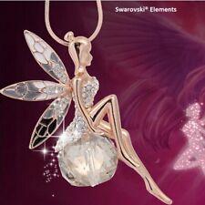 Collier pendentif ange fée ailes Swarovski® Elements chaîne dorée top qualité