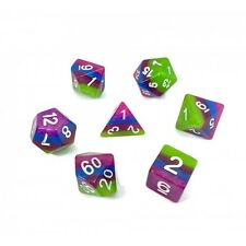 Candy Colored Layered Poly Dice Set Green Purple Blue (7) New RPG DnD