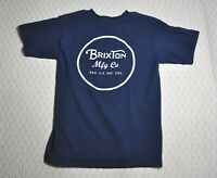BRIXTON Mfg Co Logo 2-Sided T-SHIRT Sz S Standard Fit Navy Blue Cotton Tee BRXTN