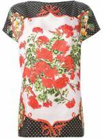 Dolce & Gabbana Floral printed Short Sleeved Silk Top, Sz 44 IT, 8 U.S, 12 U.K