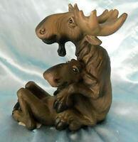 Rare Bearfoots Big Sky Carvers Mooses Pair Cuddling Figurine