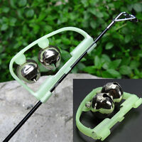 2pc Night Fishing Rod Tip fish Bite Alarm Alert Clip Bells Ring Glow in The Dark