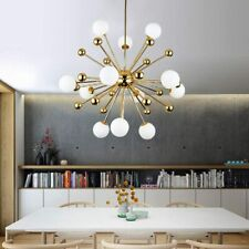 Chandelier Lighting Fixture Gold Mid Century Pendant lamp Frosted Glass Modern C