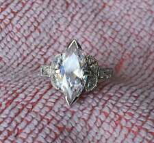 Stone Wedding Ring For Women's,925 Ss 2.50ct White Marquise With Baguette Cut Cz