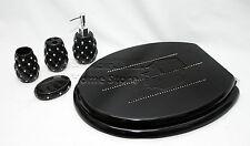 Stylish 4pc Ceramic Porcelain Bathroom Accessory & Toilet Seat Set Black Diamond