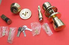 Mobile Home Lockset. Door Lock & Deadbolt Polished Brass keyed alike 4 keys