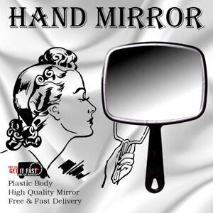 Rectangle Black Hand Held Mirror Salon Style Vanity Professional Makeup Tool UK