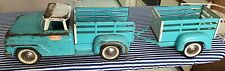 NICE TONKA FARMS STAKE BED TRUCK W/TRAILER BLUE WHITE VINTAGE PRESSED STEEL TOY