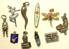 Vintage Silver Charms Lot of 10 Miner Soldier Lobster #3033