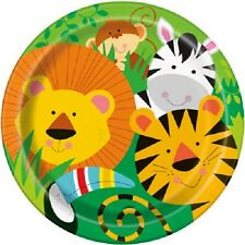 "Safari Jungle Zoo Animals Birthday Party Dinner Lunch 9"" Paper Plates Monkey"