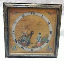 Beautiful Vintage Oriental Garden Scene Wind Up Clock Brass Face Wooden Frame (a