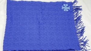 Tory Burch Large 100% Merino Wool Whip-Stitch-T Oblong Scarf New - Blue