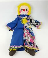 Vintage Kids Plush Toy Blonde Clown Doll With Outfit And Heart 24""