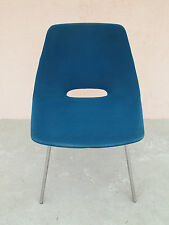 chaise fauteuil pierre guariche 1950s bleu velour french 50 assise vintage